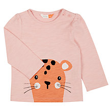 Buy John Lewis Baby Leopard Long Sleeve T-Shirt, Pink Online at johnlewis.com