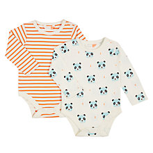 Buy John Lewis Baby Panda Long Sleeve Bodysuits, Pack of 2, White/Multi Online at johnlewis.com