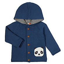 Buy John Lewis Baby's Panda Hooded Cardigan, Red Online at johnlewis.com