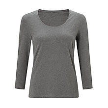 Buy John Lewis Double Front Scoop T-Shirt, Grey Marl Online at johnlewis.com