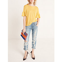 Buy AND/OR Ruffle Sleeve Top, Ochre Online at johnlewis.com