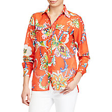 Buy Lauren Ralph Lauren Floral Cotton Silk Voile Shirt, Orange Multi Online at johnlewis.com