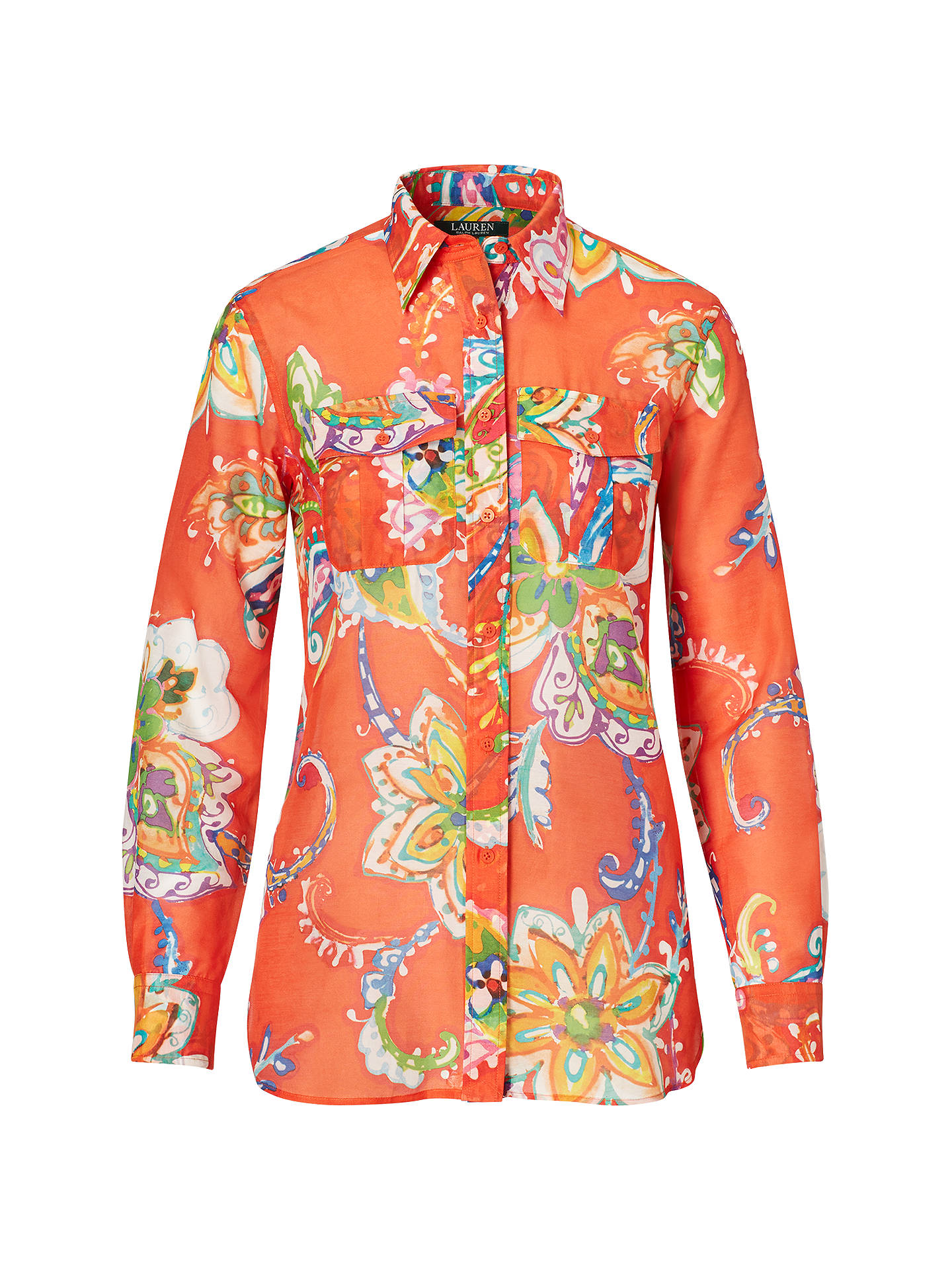 lauren ralph lauren floral cotton silk voile shirt  orange multi at john lewis  u0026 partners
