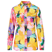 Buy Lauren Ralph Lauren Floral Cotton Silk Voile Shirt, Multi Online at johnlewis.com