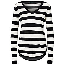 Buy Lauren Ralph Lauren Stripe V-Neck Jumper, Polo Black/White Online at johnlewis.com