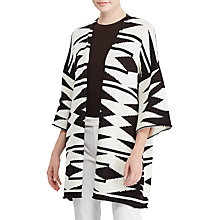 Buy Lauren Ralph Lauren Geometric Cotton Linen Cardigan, Herbal Milk/Polo Black Online at johnlewis.com