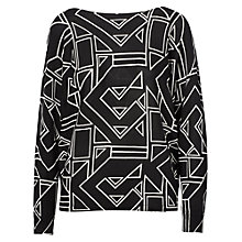 Buy Lauren Ralph Lauren Geometric Print Top, Polo Black/White Online at johnlewis.com