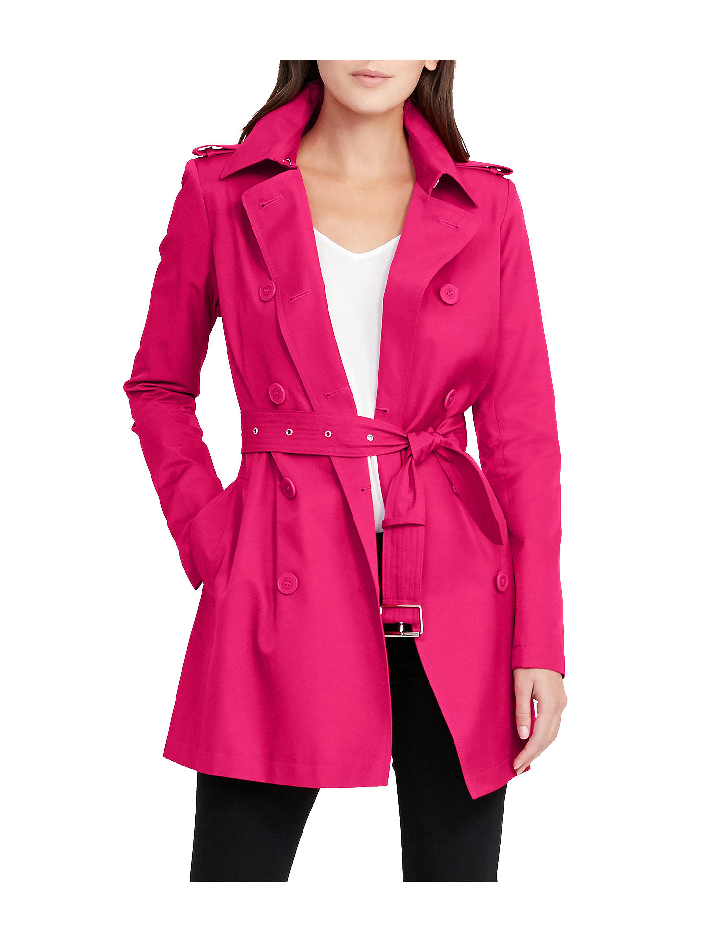 Buy Lauren Ralph Lauren Double-Breasted Trench Coat, Pink Glow, L Online at johnlewis.com