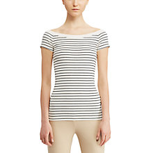 Buy Lauren Ralph Lauren Off Shoulder T-Shirt, Herbal Milk/Polo Black Online at johnlewis.com