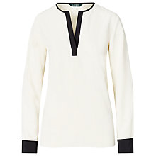 Buy Lauren Ralph Lauren Colour Block Tunic Top, Herbal Milk/Polo Black Online at johnlewis.com
