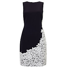 Buy Lauren Ralph Lauren Lace Trim Fit And Flare Dress, Navy/Ivory Online at johnlewis.com