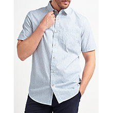 Buy John Lewis Leaf Print Short Sleeve Shirt, Blue Online at johnlewis.com