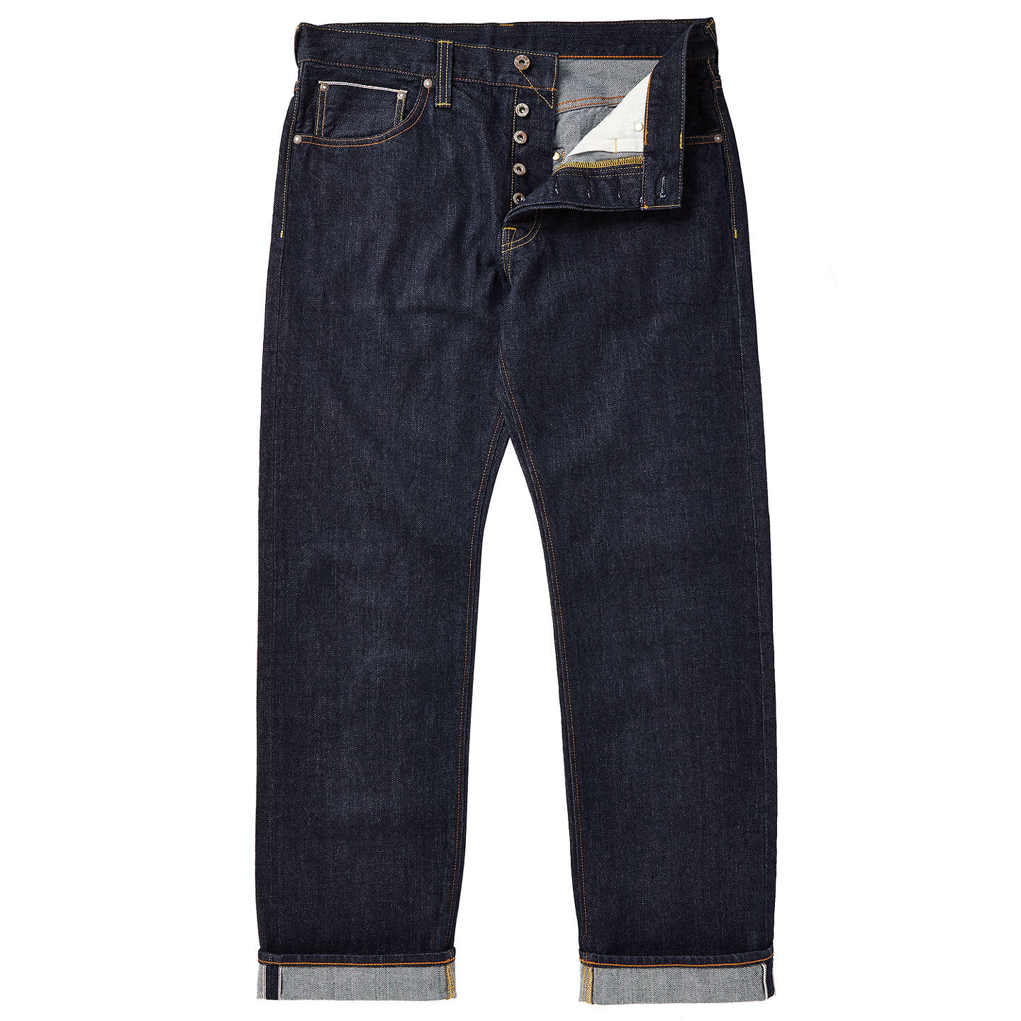 BuyJOHN LEWIS & Co. Washed Japanese Selvedge Denim Jeans, Blue, 30R Online at johnlewis.com