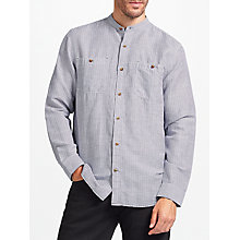 Buy John Lewis Linen Cotton Fine Stripe Grandad Collar Shirt, Blue Online at johnlewis.com