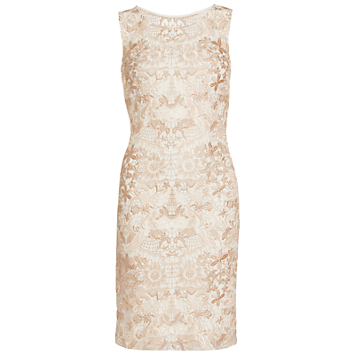 Product photo of Gina bacconi tonal floral mesh dress spring butter