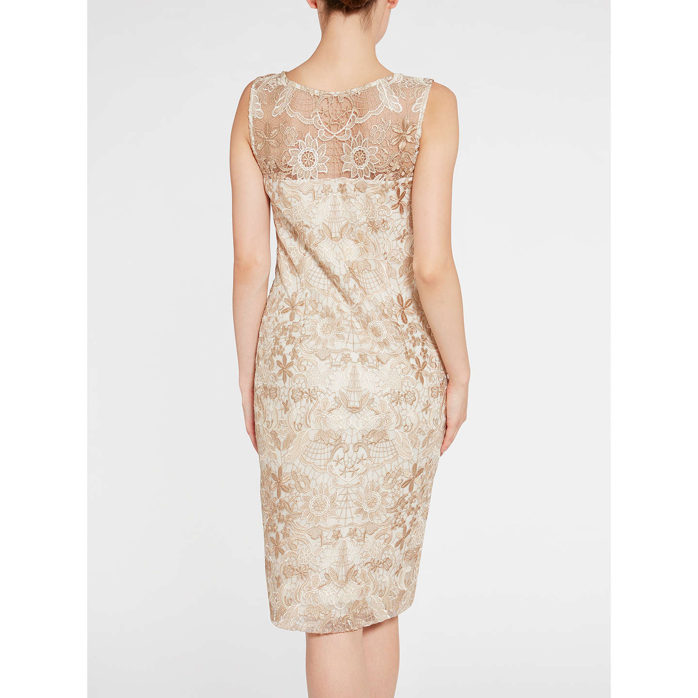 BuyGina Bacconi Tonal Floral Mesh Dress, Spring Butter, 8 Online at johnlewis.com