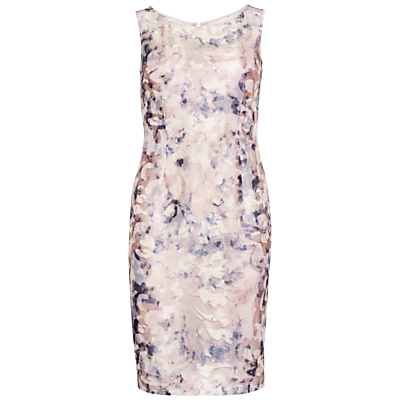 Product photo of Gina bacconi soft watercolour mesh dress nude