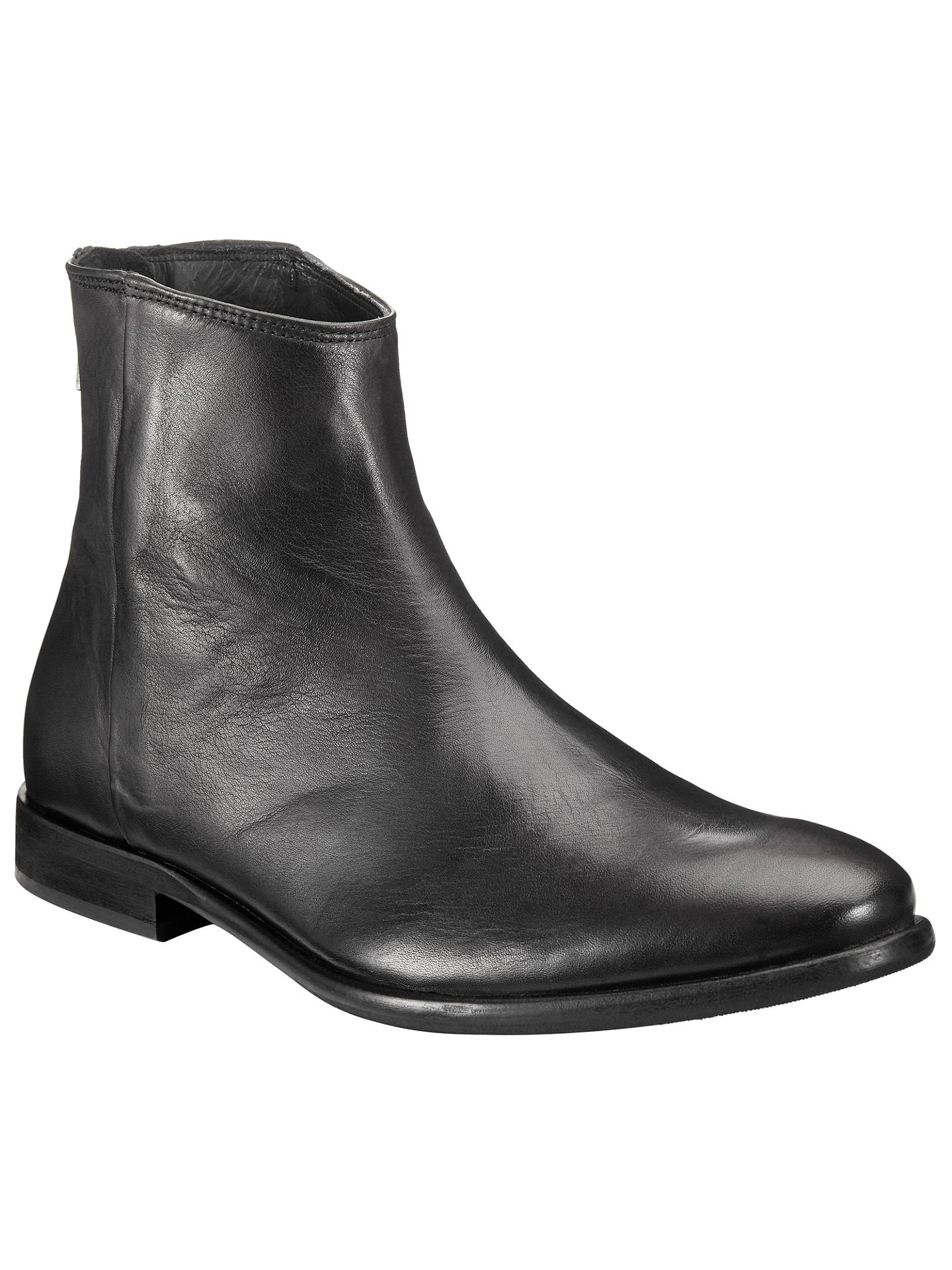 c875dd03f83 Paul Smith Rear Zip Leather Ankle Boots, Black at John Lewis & Partners