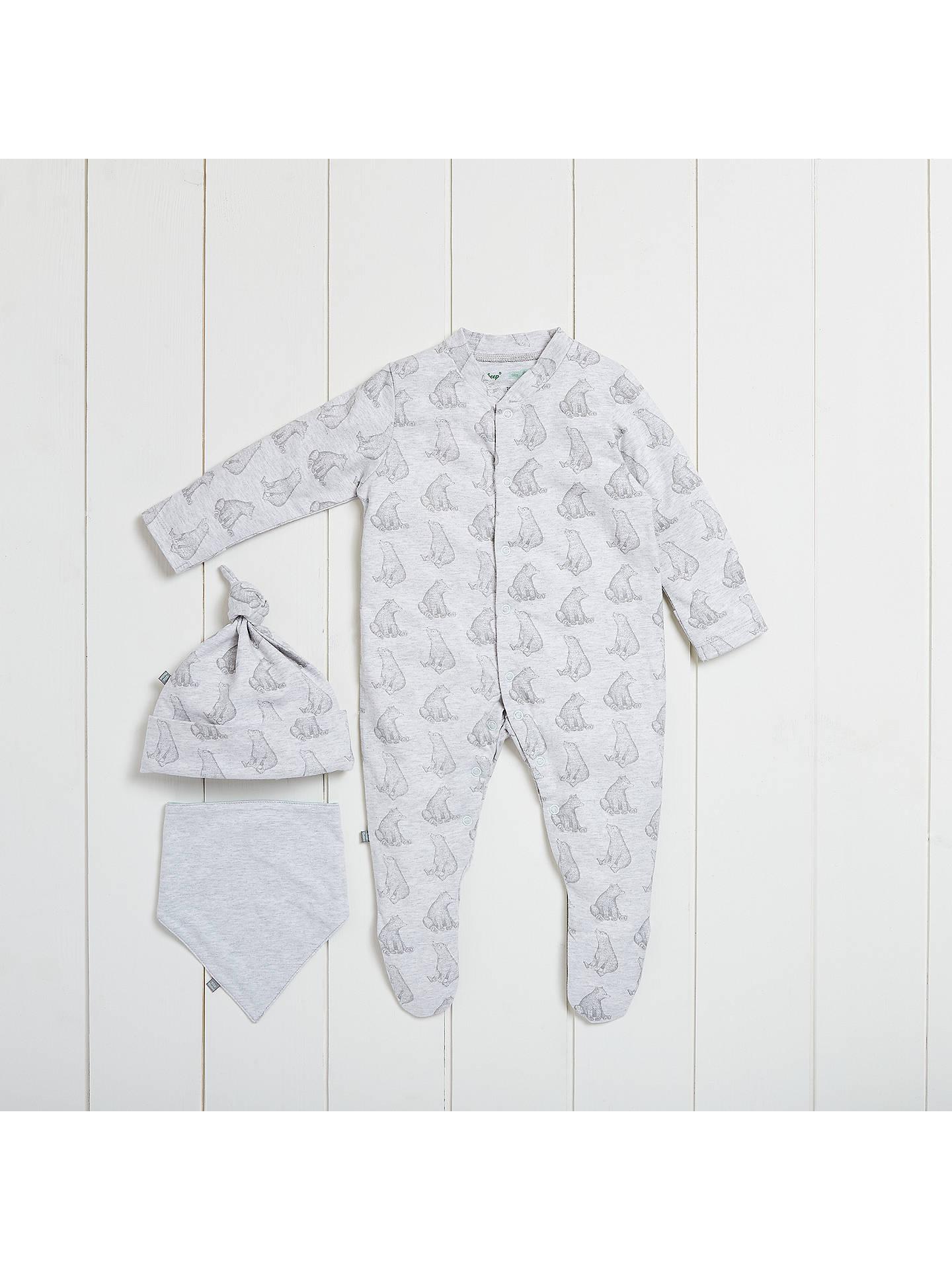 BuyThe Little Green Sheep Baby Wild Cotton Bear Sleepsuit Gift Set, Grey,  0  ...