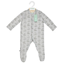 Buy The Little Green Sheep Baby Bear Print Wild Cotton Sleepsuit, Grey Online at johnlewis.com
