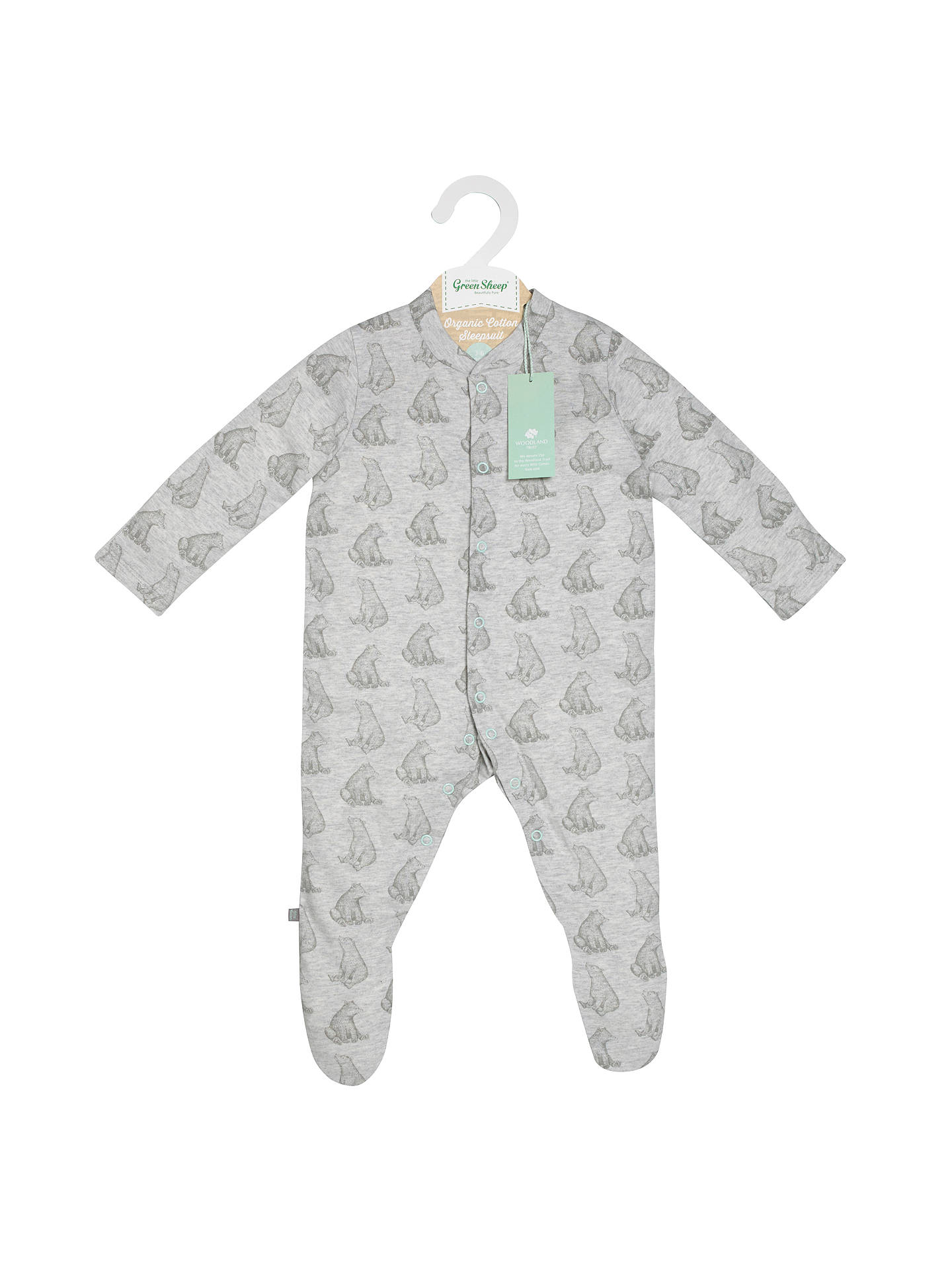 BuyThe Little Green Sheep Baby Bear Print Wild Cotton Sleepsuit, Grey, 3-6 months Online at johnlewis.com