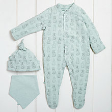 Buy The Little Green Sheep Baby Wild Cotton Rabbit Sleepsuit Gift Set, Mint Online at johnlewis.com