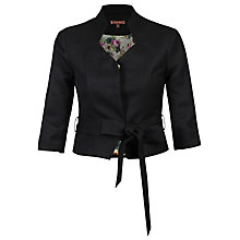 Buy Jolie Moi High Collar Belted Blazer, Black Online at johnlewis.com
