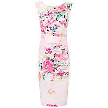 Buy Jolie Moi Floral Printed Ruched Shift Dress, Light Pink Online at johnlewis.com