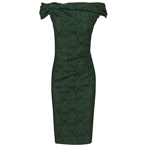 Buy Jolie Moi Bardot Neck Dress, Dark Green Online at johnlewis.com