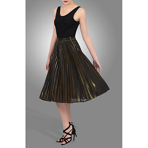 Buy Jolie Moi Metallic Pleated A-line Skirt, Black/Gold Online at johnlewis.com