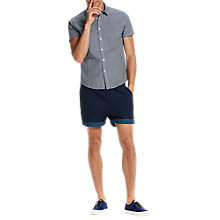 Buy Scotch & Soda Structured Cotton Short Sleeve Shirt, Blue Online at johnlewis.com