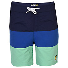 Buy Lyle & Scott Boys' Cut and Sew Swim Shorts, Blue/Green Online at johnlewis.com