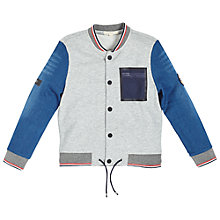 Buy Angel & Rocket Boys' Maddox Denim Jersey Bomber Jacket. Denim/Grey Online at johnlewis.com