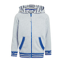 Buy John Lewis Boys' Stripe Rib Hoodie, Grey Online at johnlewis.com