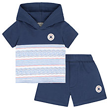 Buy Converse Baby All Star Striped Hoodie and Shorts Set, Navy Online at johnlewis.com