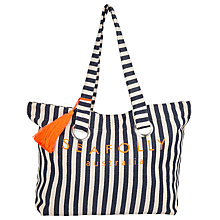Buy Seafolly Stripe Eyelet Tote Bag, Indigo Online at johnlewis.com