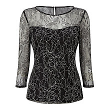 Buy Precis Petite Anya Lace Gathered Top, Multi/Black Online at johnlewis.com