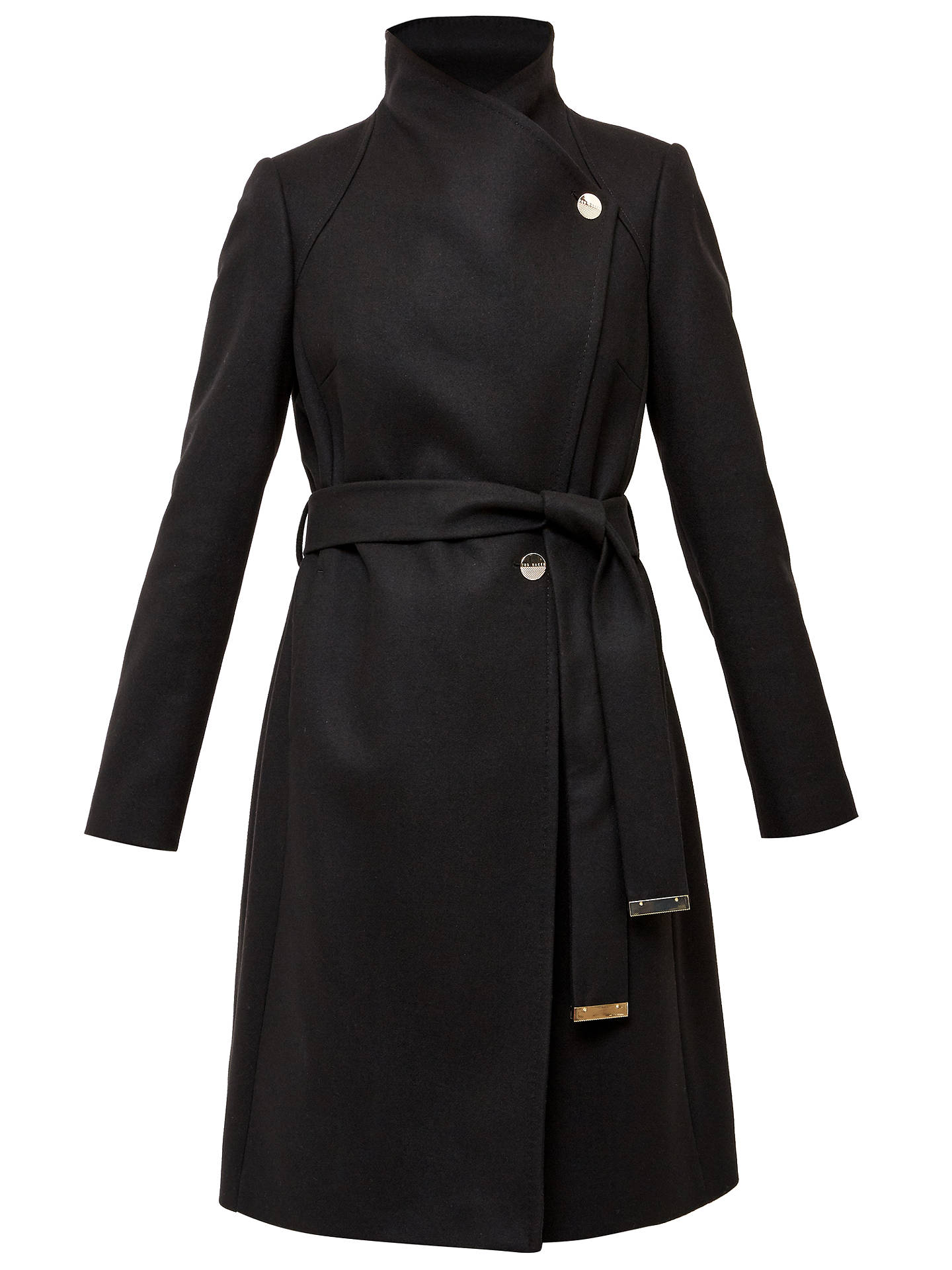 autumn shoes reasonably priced best quality Ted Baker Aurore Long Wrap Collar Coat, Black at John Lewis & Partners
