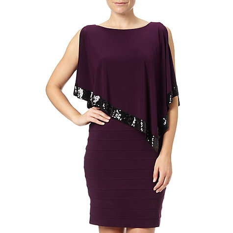 Buy Adrianna Papell Plus Size Capelet Banded Dress, Plum Wine Online at johnlewis.com
