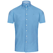 Buy Hackett London Garment Dye Short Sleeve Slim Oxford Shirt, Light Blue Online at johnlewis.com