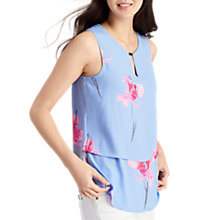 Buy Joules Amelia Double Layer Printed Top, Sky Blue Orchid Online at johnlewis.com