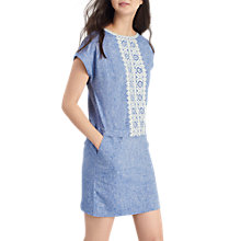 Buy Joules Dana Embroidered Tunic Dress, Chambray Online at johnlewis.com