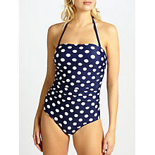 Buy John Lewis Bossa Spot Bandeau Swimsuit, Navy/White Online at johnlewis.com