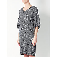 Buy Kin by John Lewis Floral Frill Sleeve Dress, Black/White Online at johnlewis.com
