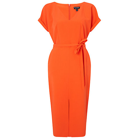 Buy Miss Selfridge Pencil Tie Waist Dress, Orange Online at johnlewis.com