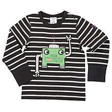 Buy Polarn O. Pyret Baby Striped Robot Top, Black/White Online at johnlewis.com