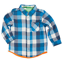 Buy Polarn O. Pyret Boys' Reversible Checked Shirt, Blue/Green Online at johnlewis.com