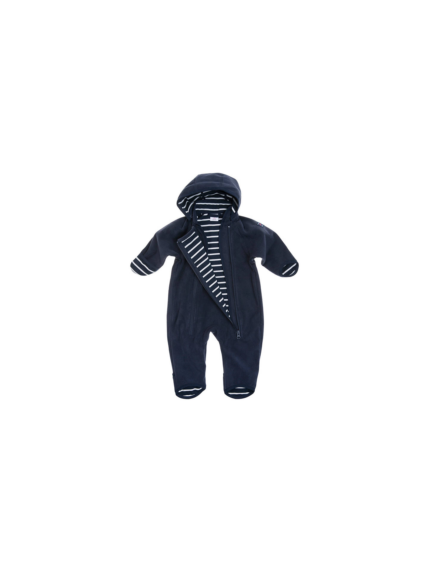 BuyPolarn O. Pyret Baby Fleece Pramsuit, Blue, 0-1 month Online at johnlewis.com