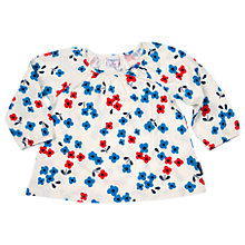 Buy Polarn O. Pyret Baby Floral Top, White/Blue Online at johnlewis.com