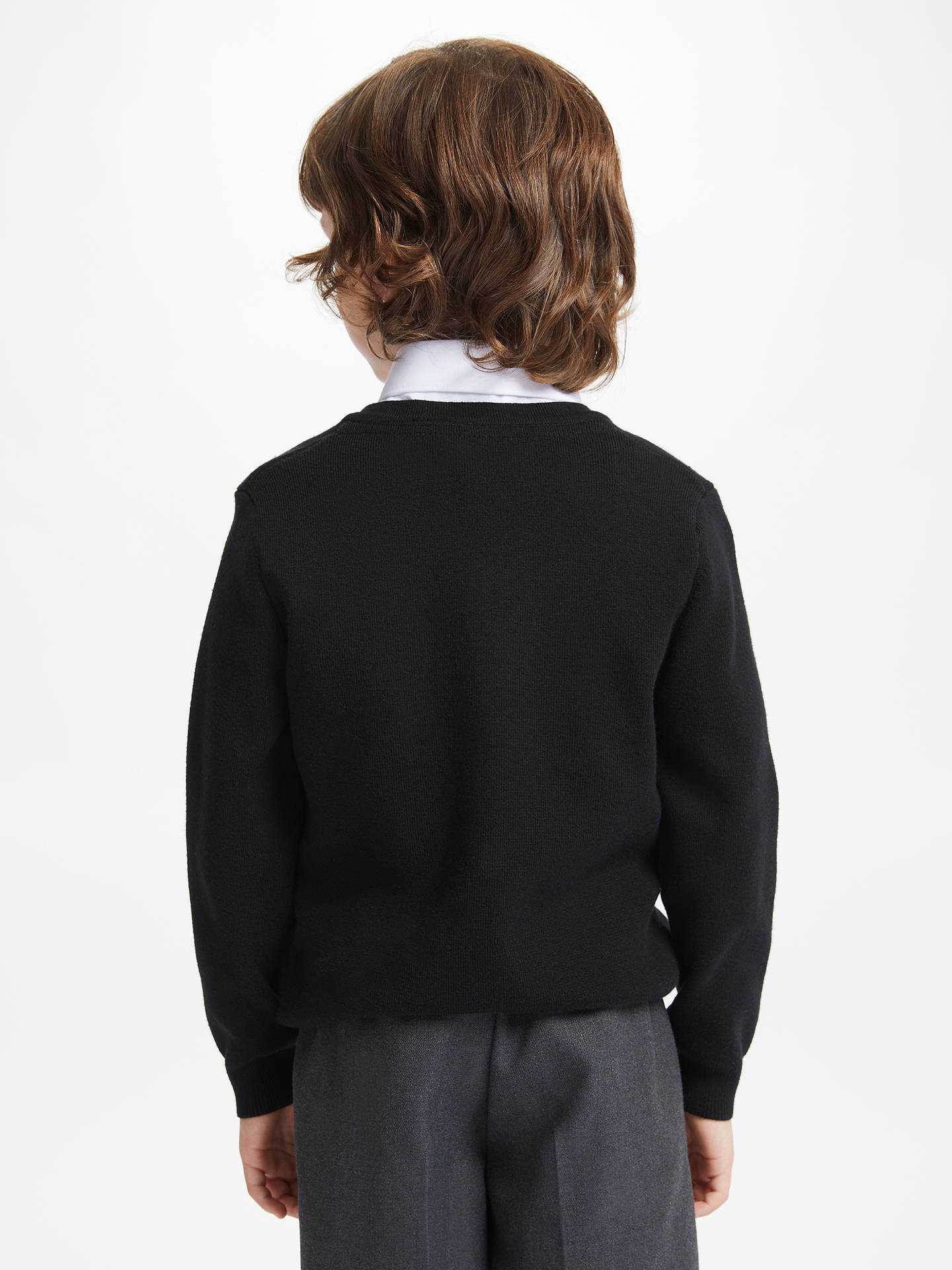 Buy John Lewis & Partners Unisex School V-Neck Jumper, Black, 3-4 years Online at johnlewis.com